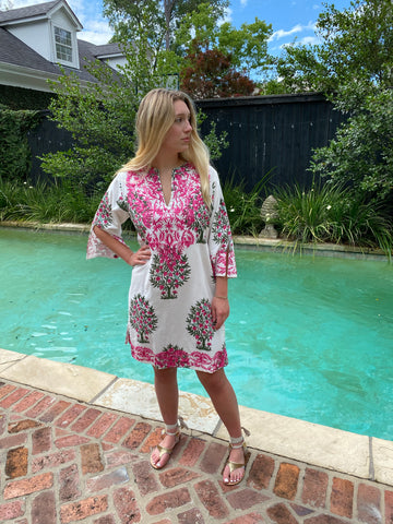 Pink Pomegranate Bird Wild Vine Embroidery Uma Tunic/Dress | Jaipur Print