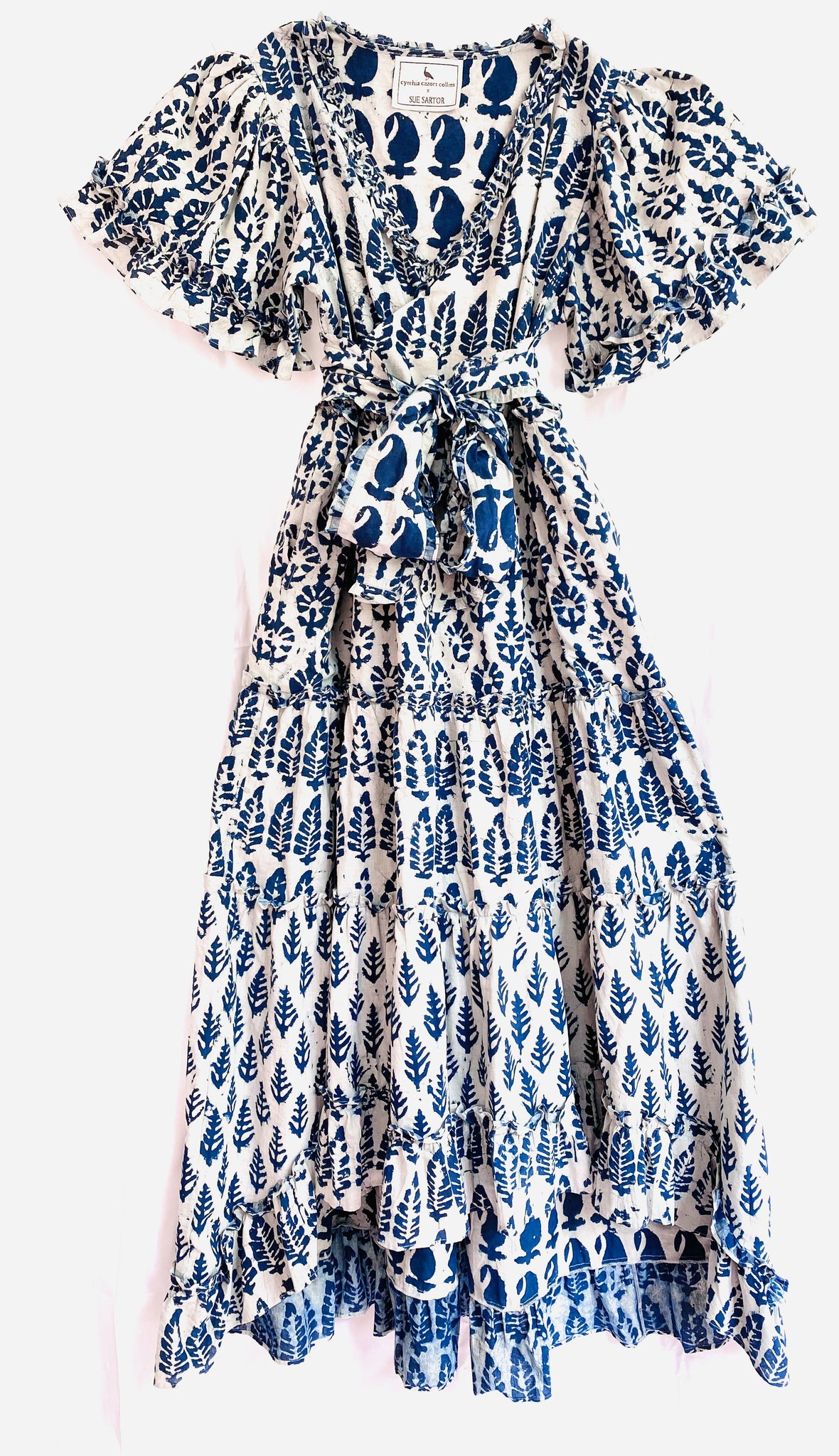 Jalisco Ruffle Kaftan Dress | White / Indigo Fern Batik CCC X SS