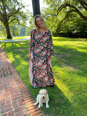 Lyford Hand~Loom Silk Chiffon Boat Neck Kaftan Dress | Hunter / English Rose