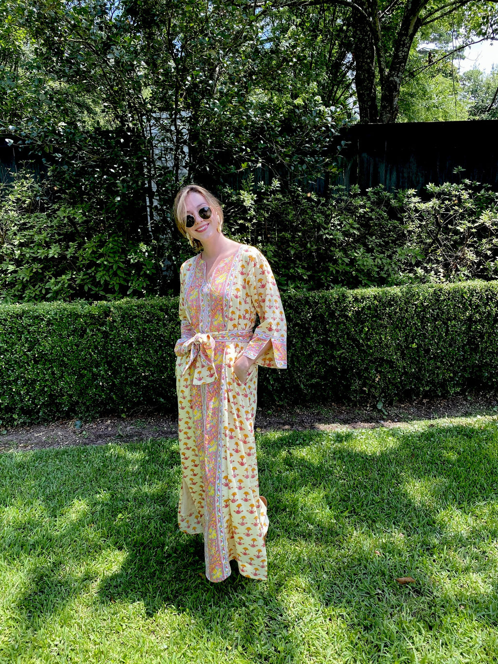 Alys Beach Kaftan Dress | Canary / Pink Lotus
