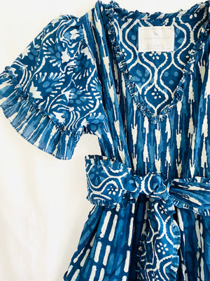 Jalisco Ruffle Kaftan Dress |  Deep Navy Indigo batik in Floral/Stripe  CCC X SS
