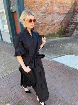 Hamilton Long Kaftan Dress / Black Hand~Loom Cotton