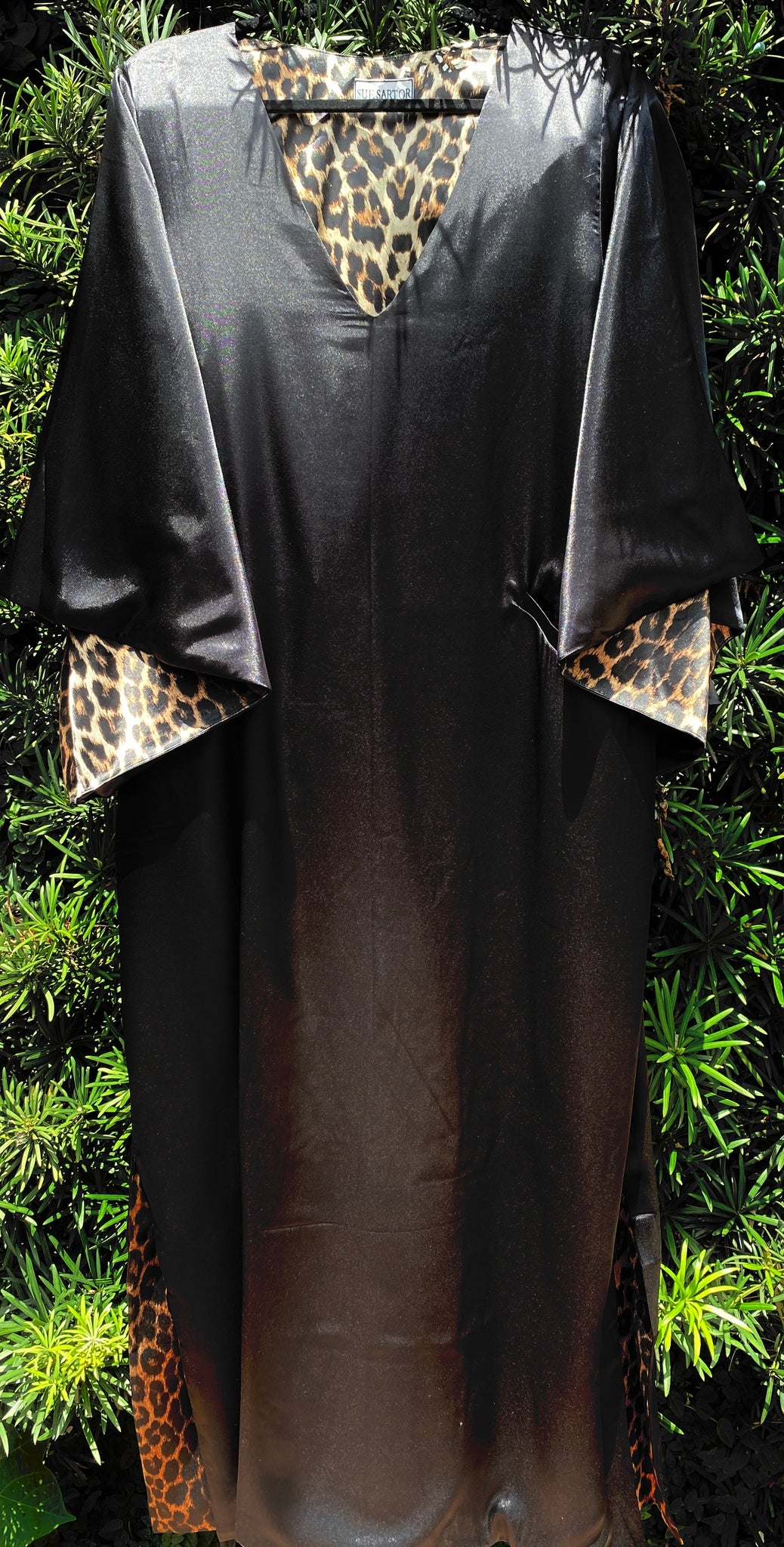 Black | Leopard hand loom satin SS Kaftan Dress | @cattlebaronincashmere limited edition