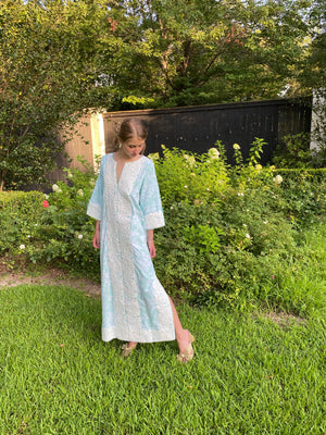 Alys Beach Kaftan Dress | Seafoam Green/White / floral hand cut white lace
