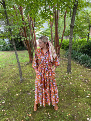 Paloma Flounce Dress |Sorrel / Meadow Rose Cotton Voile