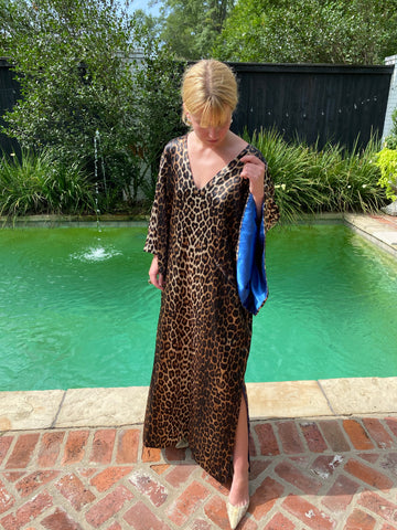 Leopard | Deep Delft Blue hand~loom satin SS Kaftan Dress | limited edition @cattlebaronincashmere