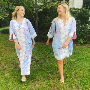 Short Alys Beach Kaftan Dress | Barely Blue floral voile / hand cut white lace