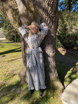 Kensington Dress/ Edwardian Collar Black/White Buffalo Check