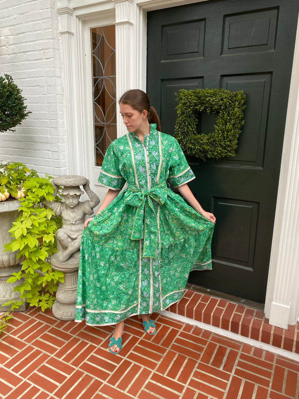 Leontine Kaftan Dress | Evergreen with sky blue floral border