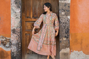 Paloma Flounce Dress for Amparo | San Miguel de Allende/ Terracota / Green Vine