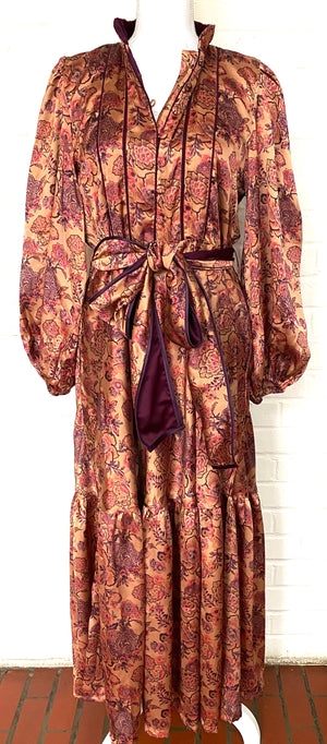 Silk Charmeuse Athénée Dress in Antique Rose|  Plum / Blush Edwardian Garden