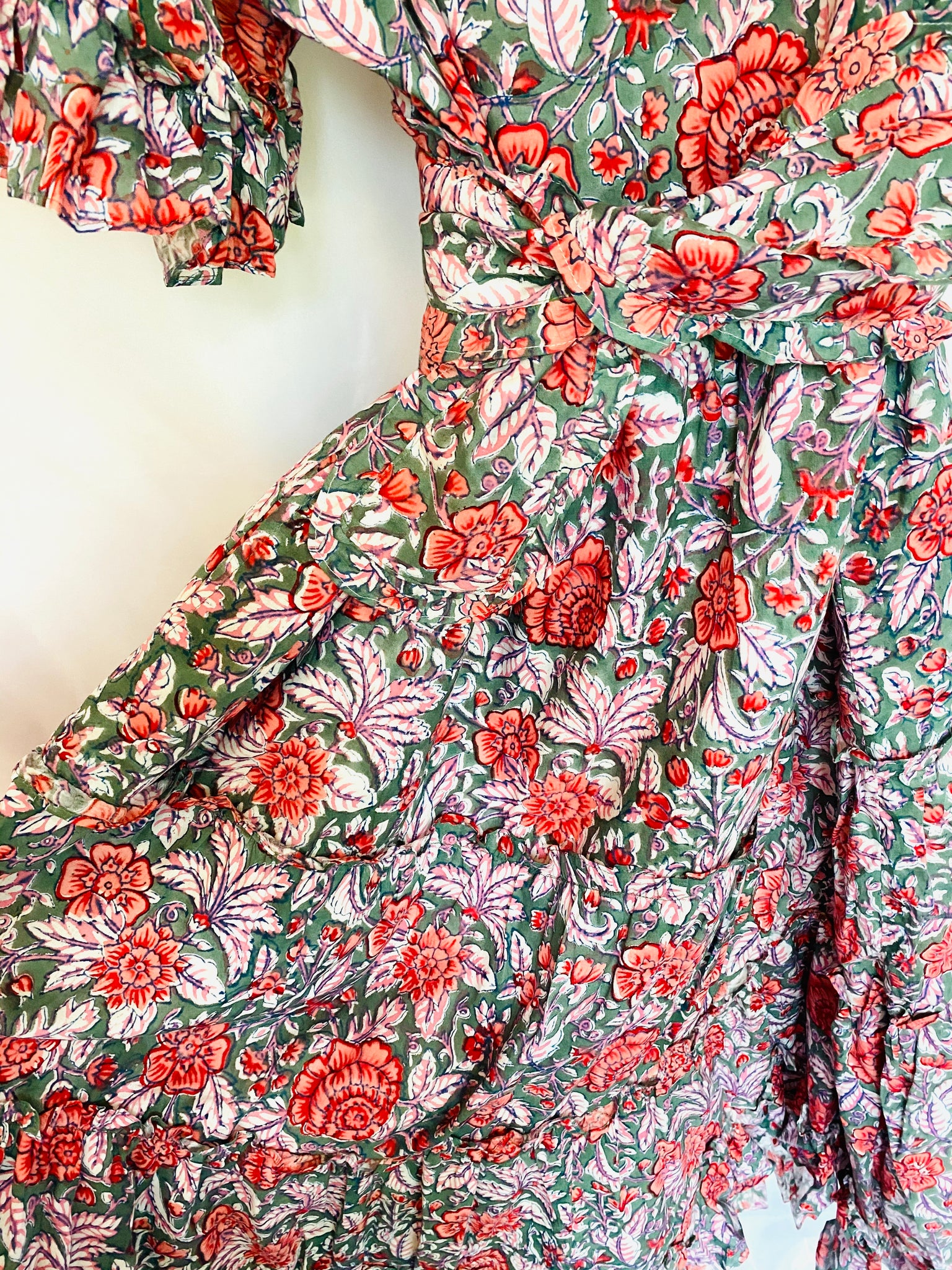 Ships 8/20 Jalisco Ruffle Kaftan Dress | Green/Coral/Pink Palm - Cabbage rose print CCC X SS