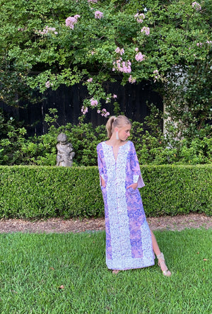 Alys Beach Kaftan Dress | Lavender ~ Royal Blue Damask/ hand cut white lace
