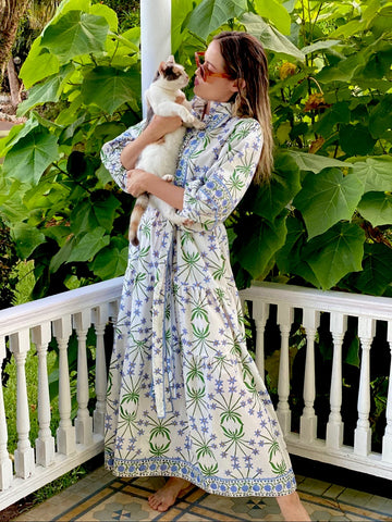 Bermudiana Kaftan Dress with Sarah Amanda Bray  | Custom Woodblock Print tiered Maxi Kaftan with 3/4 Balloon sleeve