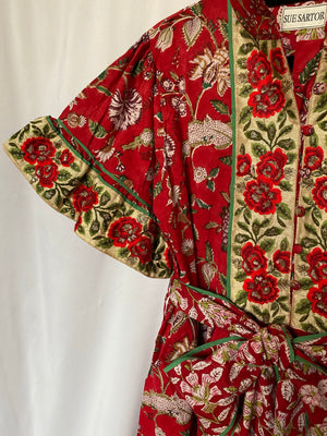 Hamilton Kaftan Dress | Holiday |  Exclusive cotton floral chintz /true red with artisan rose garden embroidery