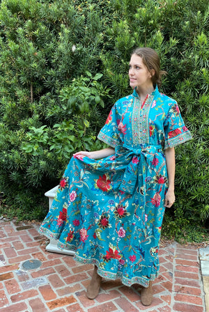 Hamilton Kaftan Dress / Teal Damask