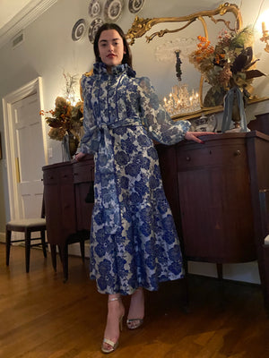 Athénée Dress  |Azure English Garden Rose hand~loom silk organza, lined in hand~dyed azure blue satin
