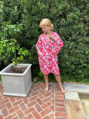 Taj Kaftan Short Shift  | cadmium vintage blooms / petal cotton voile