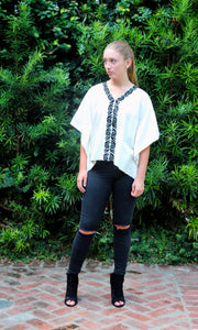 Ivory Silk Kaftan Top | Black Stylized Bloom Embroidery - sueanu