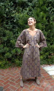 Taupe and Gold Cotton Kaftan Dress - sueanu
