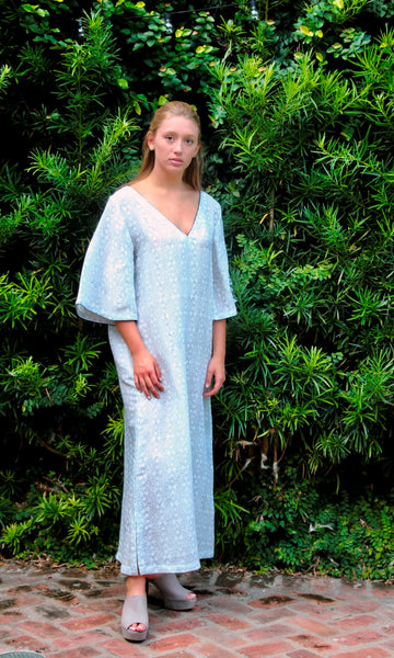 Ivory Linen Kaftan Dress | Stamped Coiffered Pattern - sueanu