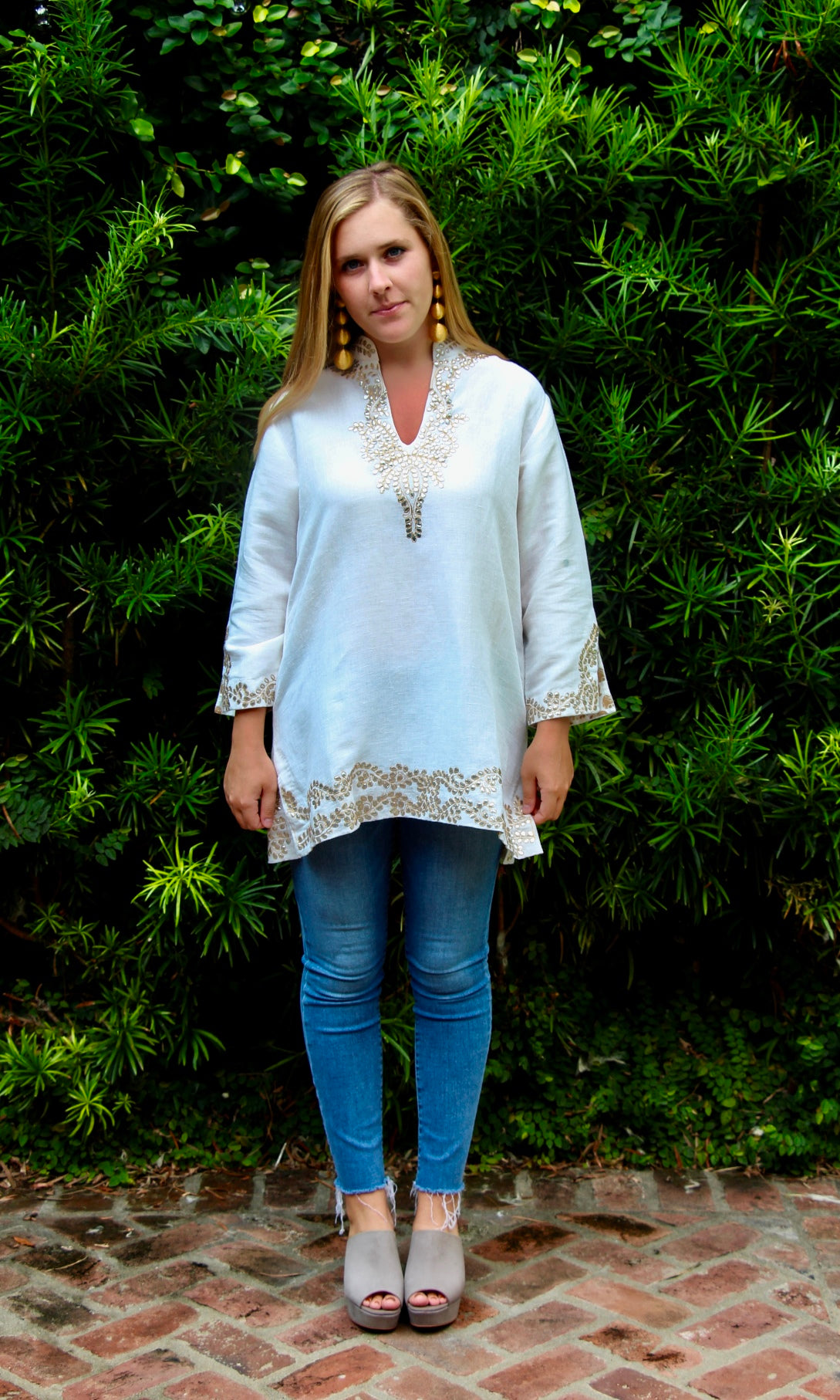 White Linen Sushila Tunic | Silver and Gold Embroidery - sueanu