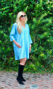 Marine Silk Boxy Shift Tunic/Dress - sueanu
