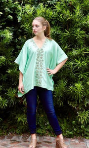 Mint Green Silk Kaftan Top - sueanu
