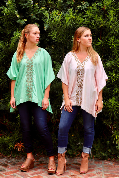 Blush Silk Kaftan Top - sueanu