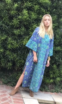 Maxed Lulu Kaftan Dress | Periwinkle and Lime Fauna - sueanu