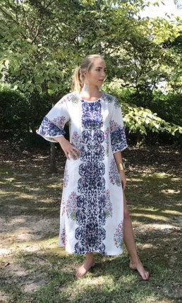 Maxed Lulu Kaftan Dress | Pink & Delft Floral Frieze - sueanu