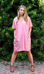 Rose Silk Boxy Shift Tunic/Dress - sueanu
