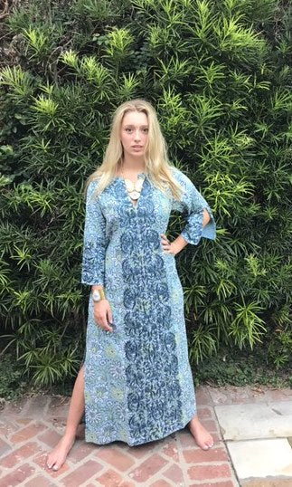 Maxed Lulu Kaftan Dress | Sky Ink & Sage Blooms - sueanu