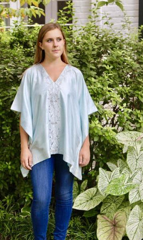 Sky Blue Silk Kaftan Top - sueanu
