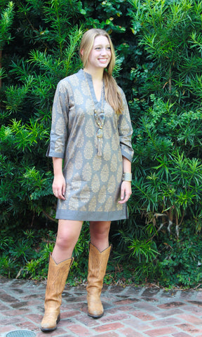 Taupe and Gold Cotton Sushila Tunic/Dress - sueanu