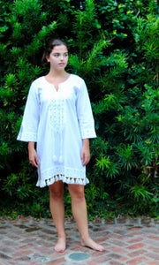 White Cotton Balochi Mirror Tasseled Dress - sueanu