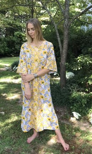 Maxed Lulu Kaftan Dress | Yellow Marigold Floral - sueanu