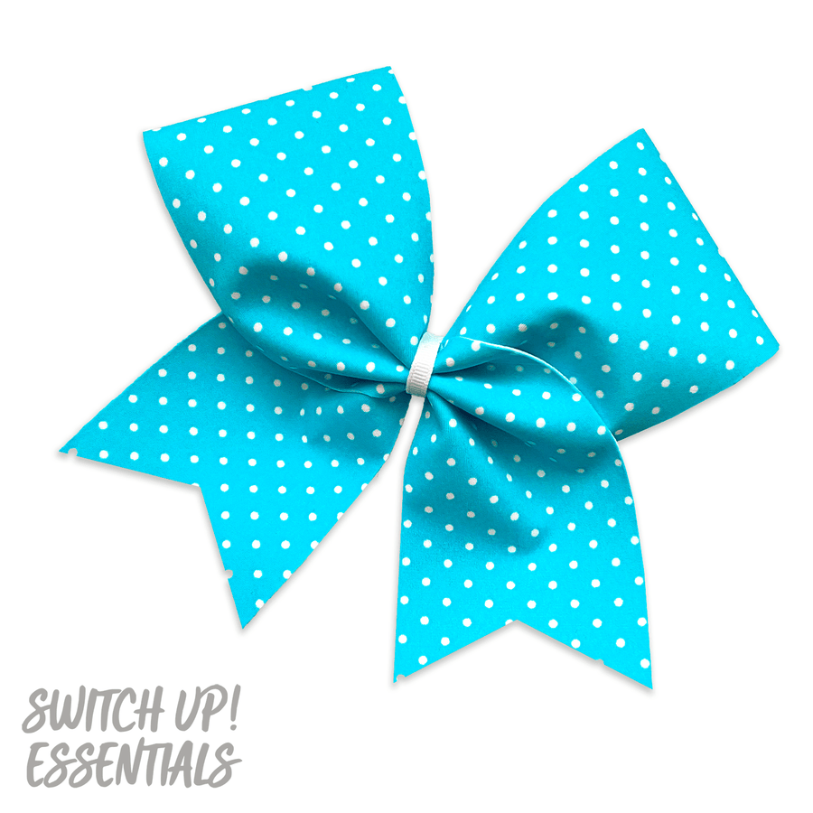 Turquoise Blue Polka Dot Cheer Bow