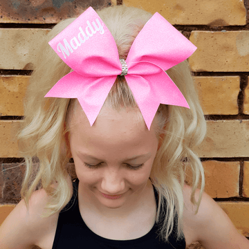 Custom Name - Personalised Neon Glitter Cheer Bow