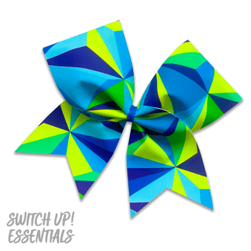 Geometric Blue and Neon Yellow Cheer Bow