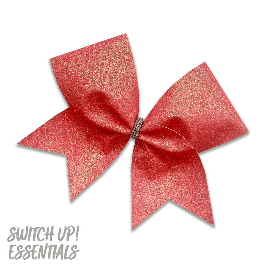 Neon Coral Glitter Cheer Bow