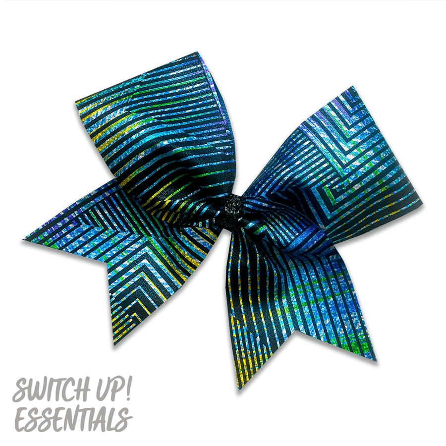 Retro Blue & Green Cheer Bow