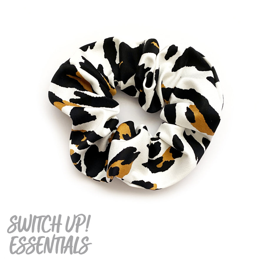 White, Tan & Black Animal Print Scrunchie