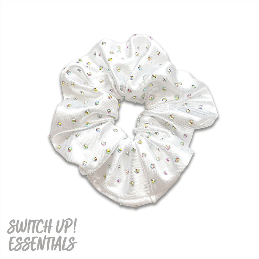 White Satin Rhinestone Scrunchie