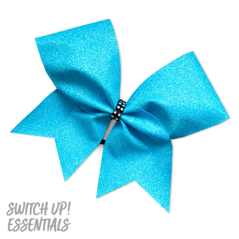 Aqua Ice Blue Glitter Cheer Bow