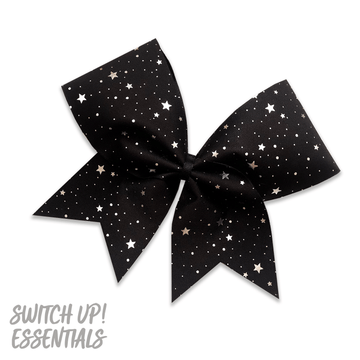 Black & Silver Stars Cheer Bow