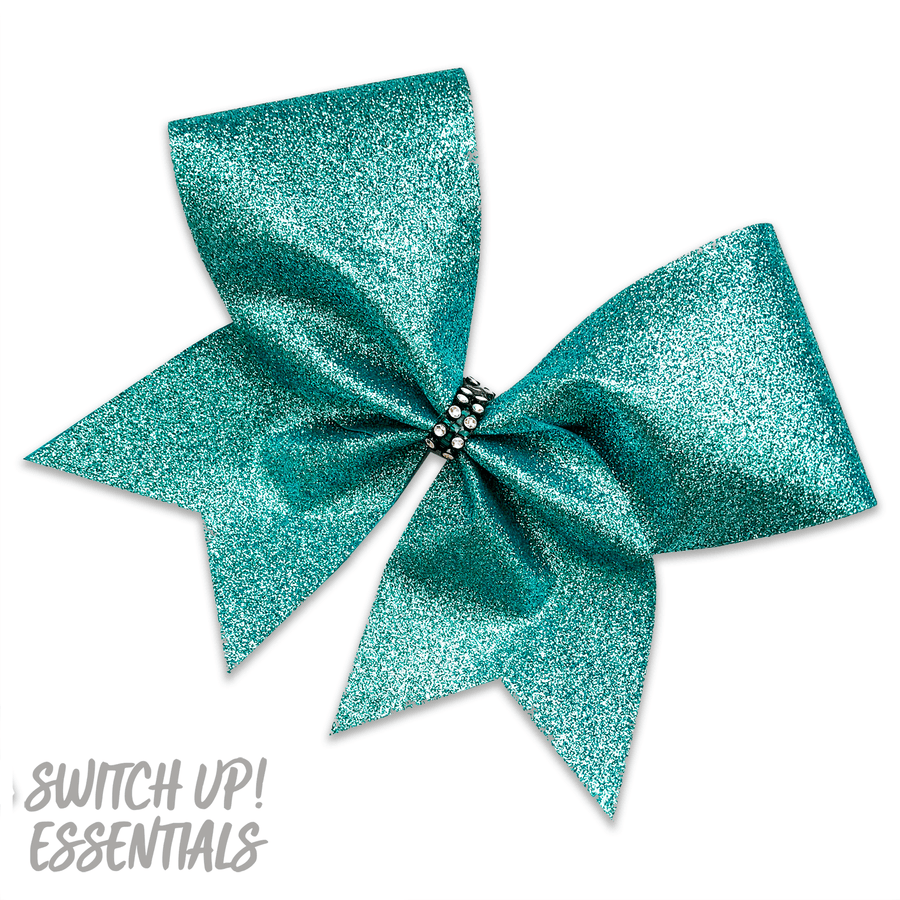 Blue Steel Glitter Cheer Bow
