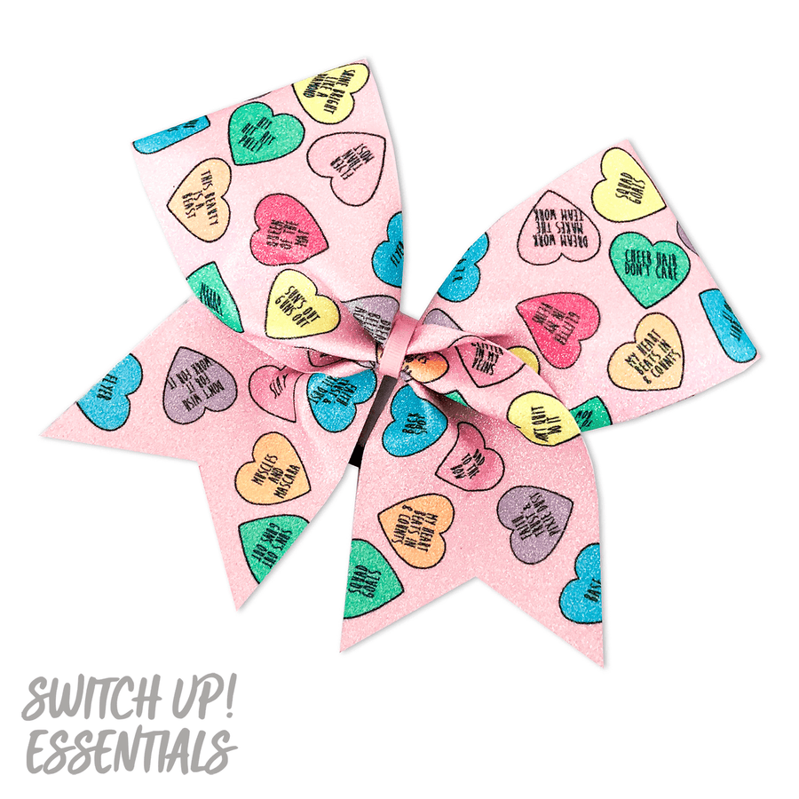 Candy Hearts Cheer Bow