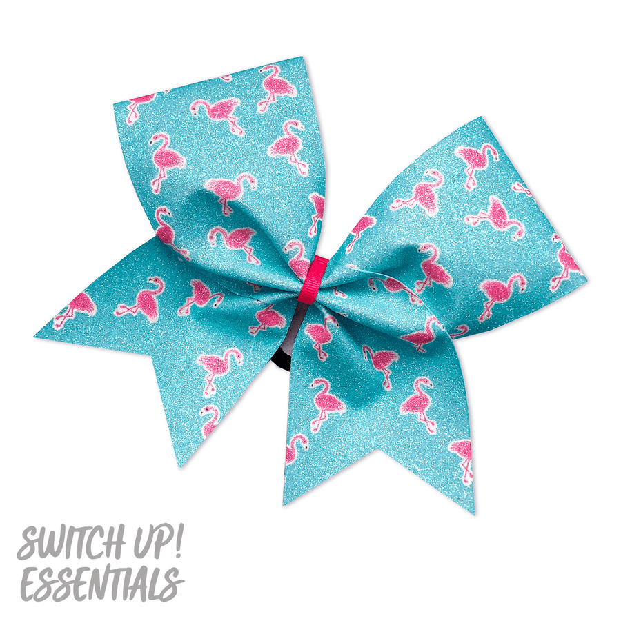 Glitter Flamingos Cheer Bow