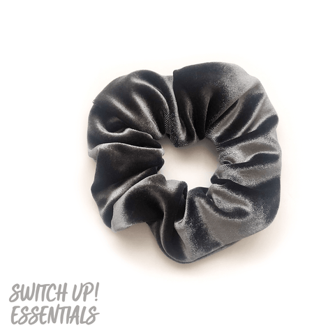 Grey Slate Velvet Scrunchie